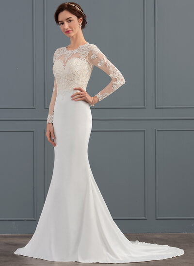 Trumpet/Mermaid Scoop Neck Sweep Train Satin Wedding Dress