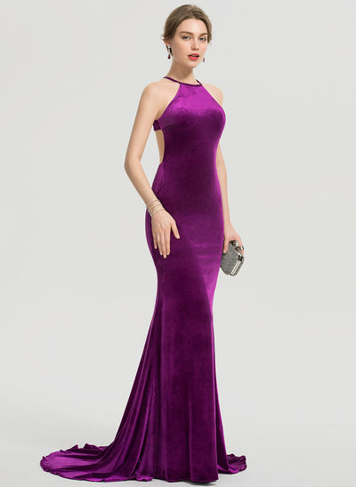 Trumpet/Mermaid Scoop Neck Sweep Train Velvet Prom Dresses