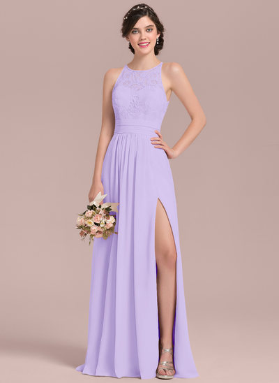 A Line Princess Scoop Neck Floor Length Chiffon Lace Bridesmaid Dress With Ruffle