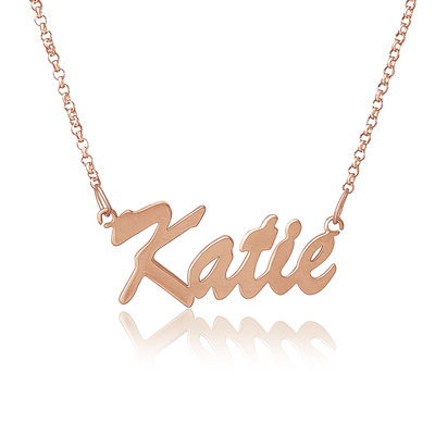 Custom 18k Rose Gold Plated Name Necklace - Valentines Gifts