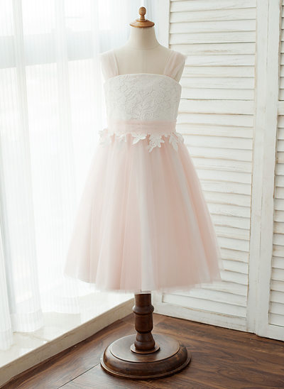 A-Line/Princess Tea-length Flower Girl Dress - Tulle/Lace Sleeveless Straps With Appliques