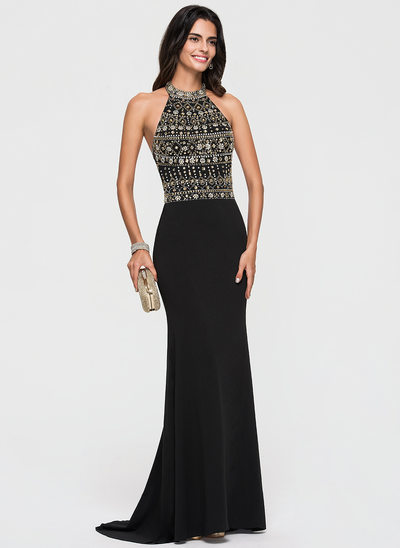 Trumpet/Mermaid Scoop Neck Sweep Train Jersey Prom Dresses With Beading