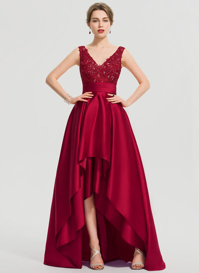 A-Line V-neck Asymmetrical Satin Evening Dress With Ruffle Sequins