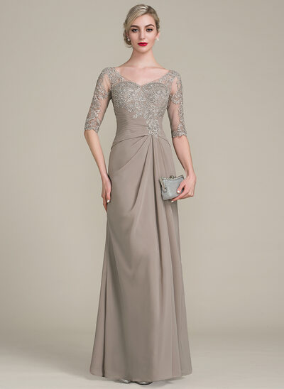 69a231acc38 A-Line Princess V-neck Floor-Length Chiffon Lace Mother of the Bride .