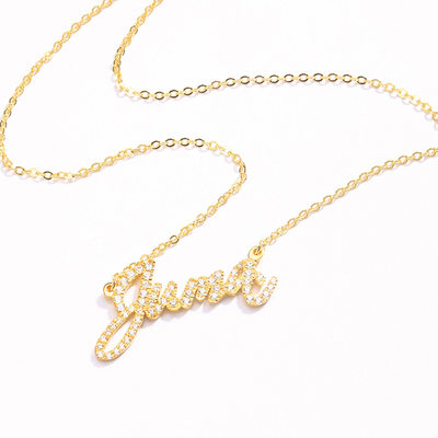 Ladies' Sparking With Round Cubic Zirconia Name Necklaces Necklaces For Bride/For Mother/For Friends