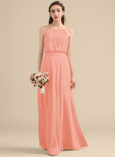 A-Line/Princess Square Neckline Floor-Length Chiffon Lace Bridesmaid Dress