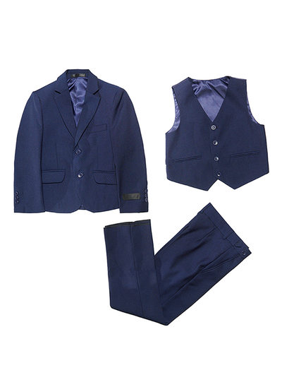 Boys 3 Pieces Solid Ring Bearer Suits With Jacket Vest Pants
