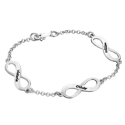 Personalized Ladies' 925 Sterling Silver Engraved Bracelets For Bridesmaid/For Friends/For Couple