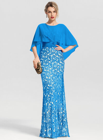 Trumpet/Mermaid Scoop Neck Floor-Length Lace Evening Dress With Beading Sequins