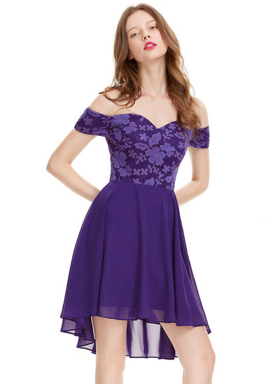A-Line/Princess Off-the-Shoulder Asymmetrical Chiffon Homecoming Dress