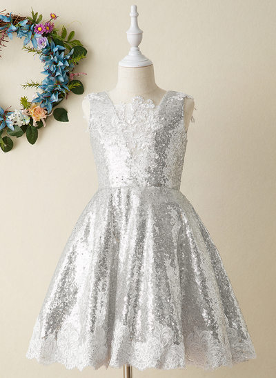 A-Line Knee-length Flower Girl Dress - Lace/Sequined Sleeveless Square Neckline With Lace/Appliques