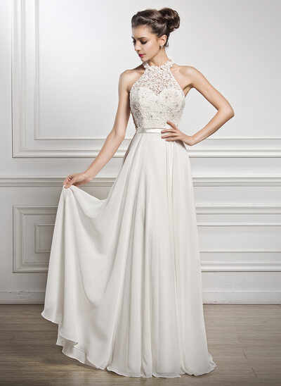 A Line Princess Scoop Neck Floor Length Chiffon Lace Wedding Dress With Beading