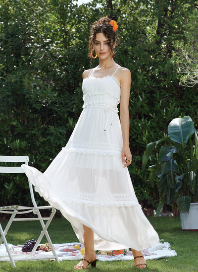 A-Line Sweetheart Ankle-Length Prom Dresses With Lace