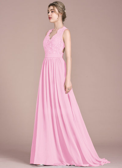 A-Line/Princess V-neck Sweep Train Chiffon Lace Bridesmaid Dress