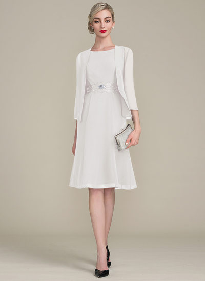 A-Line/Princess Scoop Neck Knee-Length Chiffon Mother of the Bride Dress With Ruffle Lace Beading Sequins