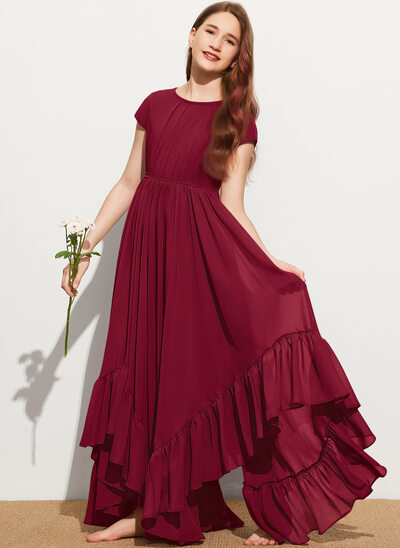 A-Line Scoop Neck Floor-Length Chiffon Junior Bridesmaid Dress With Appliques Lace Bow(s) Cascading Ruffles