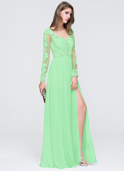 A-Line/Princess Sweetheart Floor-Length Chiffon Prom Dresses With Split Front