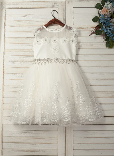 A-Line/Princess Knee-length Flower Girl Dress - Tulle/Lace Sleeveless Scoop Neck With Beading/Appliques