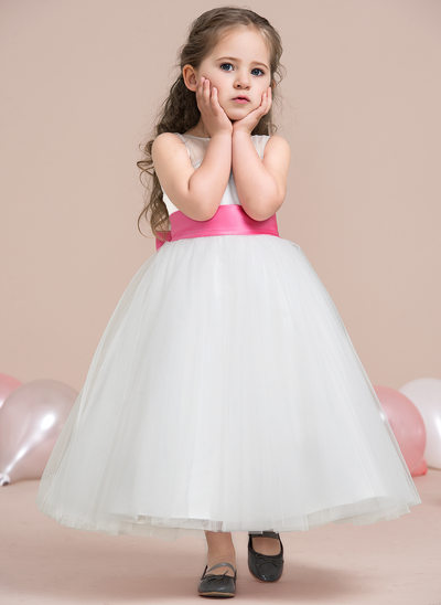 A-Line/Princess Ankle-length Flower Girl Dress - Satin/Tulle Sleeveless Scoop Neck With Bow(s)/Pleated/V Back