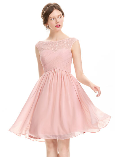 A-Line/Princess Scoop Neck Knee-Length Chiffon Prom Dresses With Ruffle Lace Beading Sequins