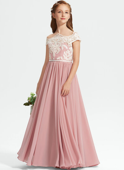 A-Line Off-the-Shoulder Floor-Length Chiffon Lace Junior Bridesmaid Dress