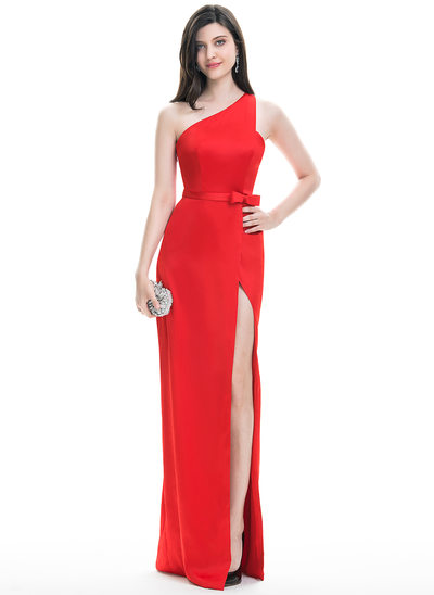 Sheath/Column One-Shoulder Floor-Length Stretch Crepe Evening Dress With Bow(s) Split Front