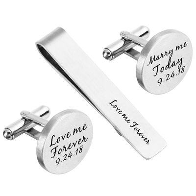 Personalized Classic Alloy Cufflinks Tie Clip