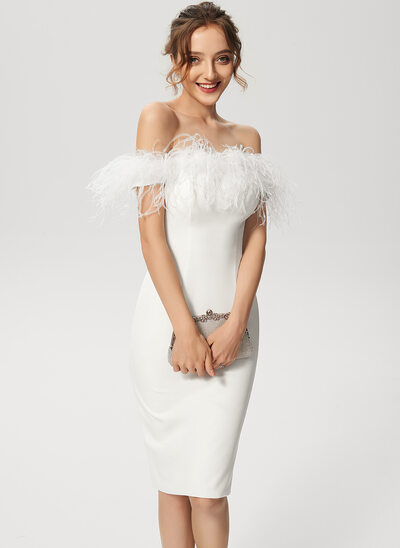 Sheath/Column Off-the-Shoulder Knee-Length Stretch Crepe Wedding Dress With Feather