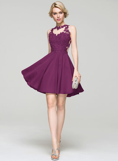 A-Line/Princess Scoop Neck Short/Mini Chiffon Homecoming Dress