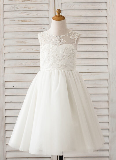 A-Line/Princess Tea-length Flower Girl Dress - Tulle/Lace Sleeveless Scoop Neck