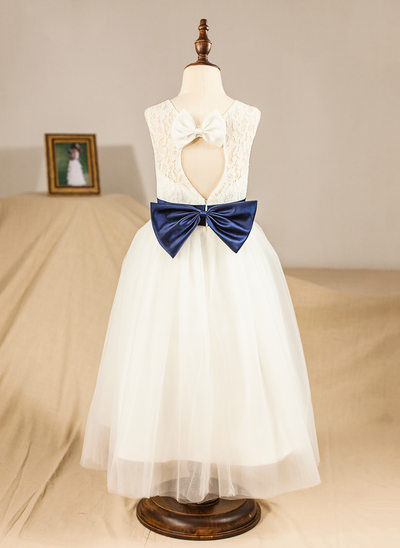 A-Line/Princess Tea-length Flower Girl Dress - Satin/Lace Sleeveless Scoop Neck With Lace/Sash/Bow(s)/Back Hole