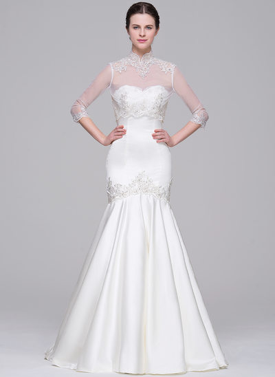 Trumpet/Mermaid Sweetheart Court Train Satin Wedding Dress With Beading Appliques Lace Sequins
