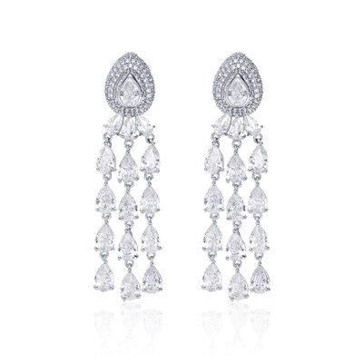 Ladies' Unique Copper/Platinum Plated With Pear Cubic Zirconia Earrings For Bride/For Bridesmaid