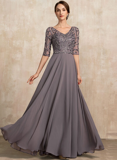 A-Line V-neck Floor-Length Chiffon Mother of the Bride Dress With Beading Sequins