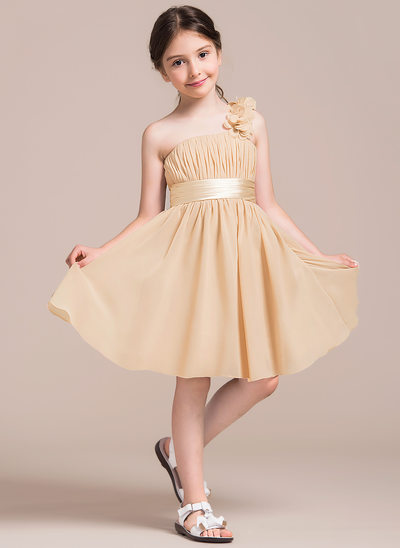 A-Line/Princess One-Shoulder Knee-Length Chiffon Junior Bridesmaid Dress With Ruffle Flower(s) Bow(s)