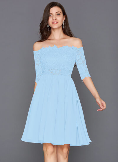 A-Linie Wellenkante Off-the-Schulter Knielang Chiffon Cocktailkleid