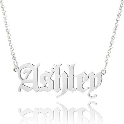 Custom Silver Old English Name Necklace - Valentines Gifts