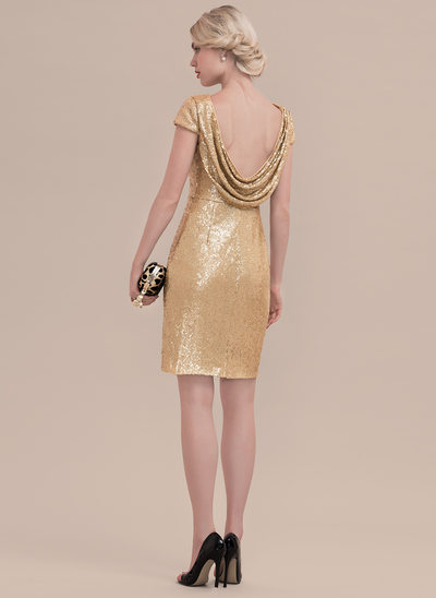 Sheath/Column Scoop Neck Knee-Length Sequined Cocktail Dress With Ruffle