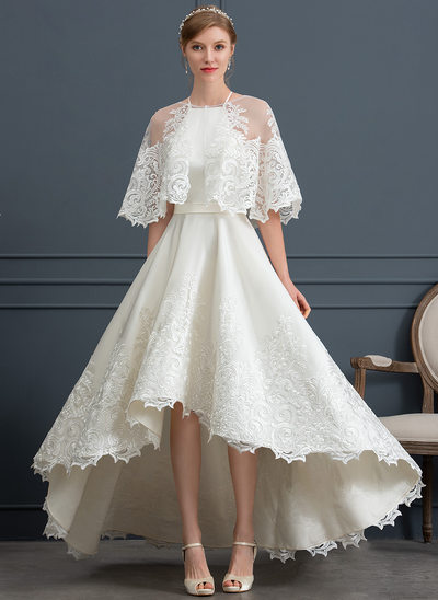 A-Line Square Neckline Asymmetrical Satin Wedding Dress With Lace Pockets