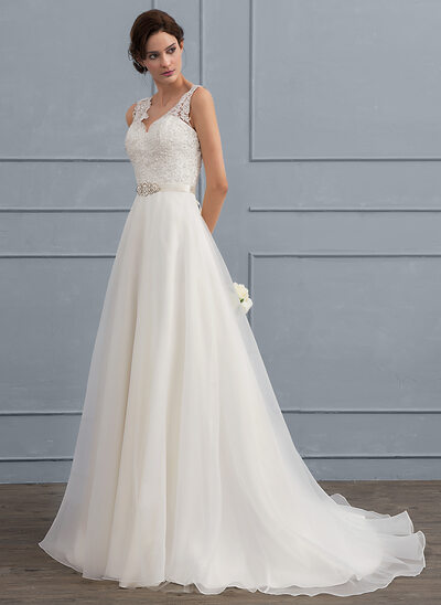 A-Line/Princess V-neck Sweep Train Organza Wedding Dress With Beading Bow(s)