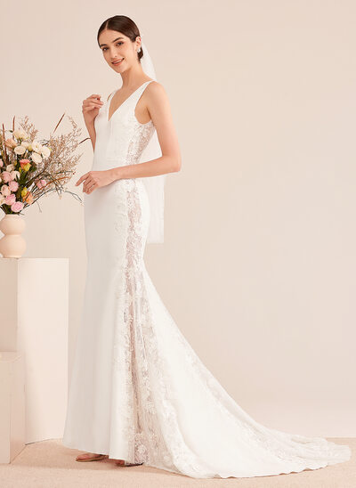 [Free Shipping]Trumpet/Mermaid V-neck Court Train Wedding Dress With Lace