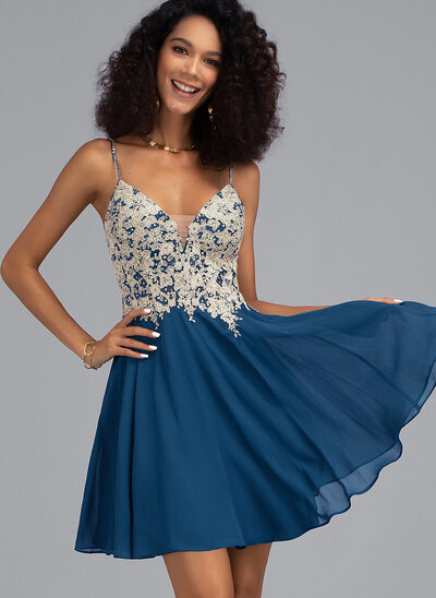 A-Line V-neck Short/Mini Chiffon Prom Dresses With Beading