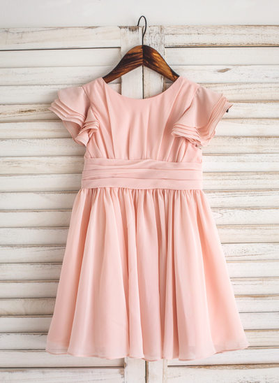 A-Line/Princess Knee-length Flower Girl Dress - Chiffon Short Sleeves Scoop Neck