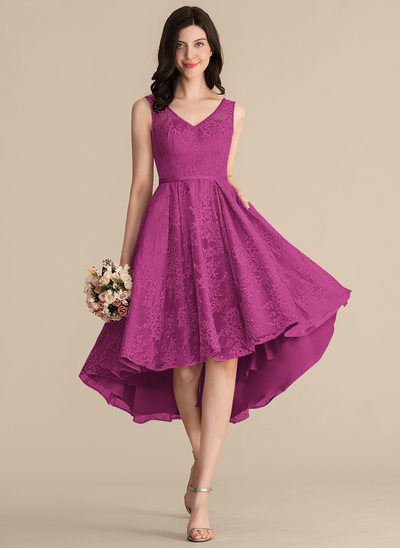 A-Line/Princess V-neck Asymmetrical Lace Bridesmaid Dress With Bow(s) Pockets