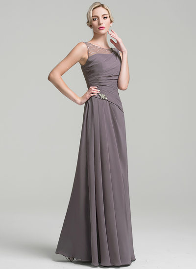 A-Line Scoop Neck Floor-Length Chiffon Mother of the Bride Dress With Ruffle Beading