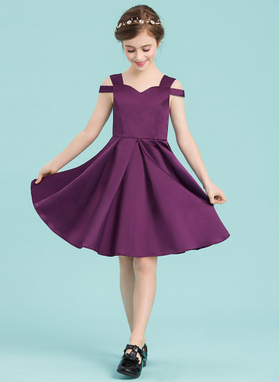A-Line/Princess Sweetheart Knee-Length Satin Junior Bridesmaid Dress