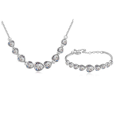 Ladies' Gorgeous Alloy/Platinum Plated With Heart Austrian Crystal Jewelry Sets For Bridesmaid/For Friends