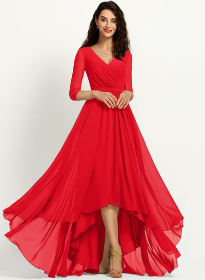 A-Line V-neck Asymmetrical Bridesmaid Dress With Pleated