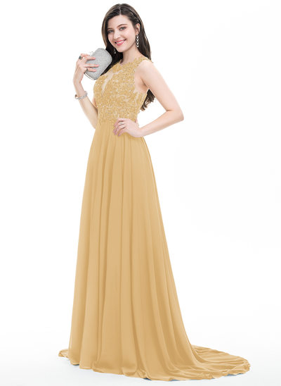 A-Line/Princess Scoop Neck Sweep Train Chiffon Prom Dresses With Beading Sequins