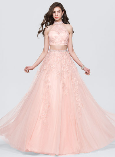 Ball-Gown Scoop Neck Floor-Length Tulle Prom Dresses With Lace Beading Sequins
